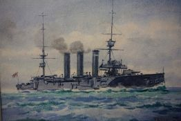 """Frank Watson Wood (1862-1953) """"Three WW1 Ship Portraits (1903-1916) Watercolours, signed to all"""