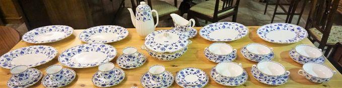 A Spode Dinner Set, To include a turren, serving plates, tea pot, cups, saucers, soup bowls, etc, 38