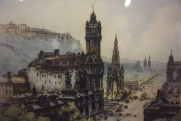 "Robert Herdman-Smith ARHA (British 1879-1945) ""Princess st from Calton Hill Edinburgh"" Coloured"