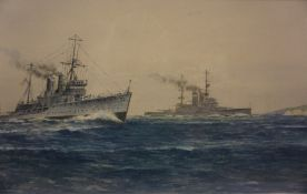 """Frank Watson Wood (1862-1953) """"HMS Tiger and HMS Ajax"""", Watercolour, signed and dated 1931 to"""
