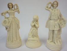 A Pair of Victorian Bisque Porcelain Figures, Modelled as a male and female wedding couple, 31cm
