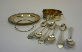 A Mixed Lot of Silver and White Metal, To include a pin dish, a two handled bowl, a bangle, and a