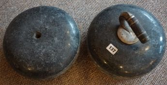 Two Antique Granite Curling Stones, One with handle, 31cm diameter, (2)