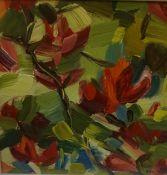 "Shona Barr (Scottish born 1965) ""Crimson Azalea study 2007"" Oil on Card, 28 x 28cm, signed lower"