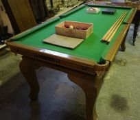 An Antique Oak Framed 6ft Billiard/Dining Table by E.J Riley Ltd Accrington, The height lowers to