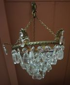 A French Style Cut Glass Hall Light, With suspended glass drops and hanging chain, 27cm wide