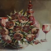 """""""Walker"""" Contemporary """"Still Life of Flowers and Decanter with Wine Glasses"""" Oil on Board, signed"""