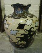 A Large Oriental Pottery Vase, Of oviform shape, signed to underside, a/f, 50cm high