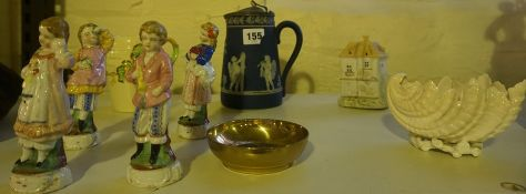 A Mixed Lot of China and Porcelain, To include four Continental figures of children, a Wedgwood