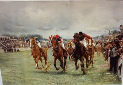 """The Kings Derby 1909"" Sporting Print, 39 x 58cm, framed"