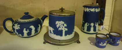 Three Pieces of Wedgwood Blue Jasper Ware Pottery, Comprising of a tea pot, biscuit barrel and water