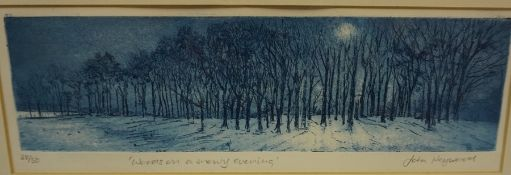 """John Heywood """"Woods on a Snowy Evening"""" Limited Edition Print, no 28 of 50, signed in pencil, 9 x"""