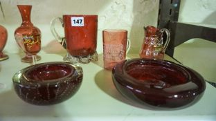 A Quantity of Cranberry and Ruby Coloured Glass, To include Victorian examples, (14)