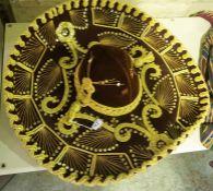 A Mexican Sombrero Hat and Bolero Jacket, The jacket having a label for Banjo, Dallas Texas to