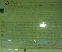 A Framed Antique Indenture, stamped for Northumberland 11.7.61, with red wax seal, 58 x 73cm