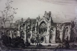 """Albany E Howarth (1872-1936) """"Melrose Abbey"""" Artists Proof Etching, one of four hundred, signed in"""