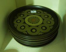 "An Oriental six piece China Tea Set, 20 pieces, also with seven Denby ""Aberesque"" pattern plates, ("