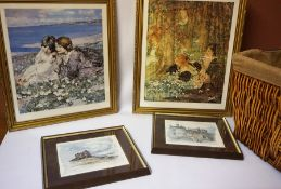 A Sundry Lot of Prints, To include two prints after Hornel, also with a picture of Edinburgh castle,