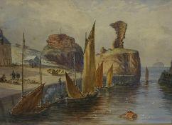 "R.P. Johnston (19th Century) ""Bass Rock-Dunbar Castle"" Watercolour, signed lower left, 24 x 36cm,"