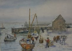 """Andrew Archer Gamley RSW (Scottish 1869-1949) """"Unloading the Catch-Winter Pittenweem Harbour Fife"""""""