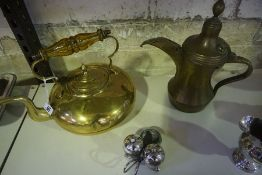 A Mixed Lot of Brass and Plated Wares, To include a brass toddy kettle with an amber glass handle, a