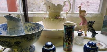 A Mixed Lot of Ceramics and Porcelain, To include a Carlton Ware lustre cylindrical vase, a Knell of