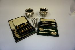 A Mixed Lot of Silver Plated Wares, To include a pair of Victorian embossed fern pots, a pair of