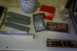 A Mixed Lot of Oriental Export Collectables, To include a lacquered tray with box, four boxes of