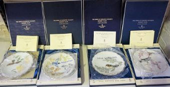 """Four Royal Worcester Limited Edition """"The Birds of Dorothy Doughty"""" Dessert Plates, Myrtle Warbler &"""