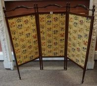 A Mahogany Folding Firescreen, In the Victorian style, 102cm high, 94cm wide