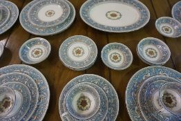 A Wedgwood Florentine Pattern Dinner Set, With an amphora vase stamped to underside, approximately
