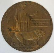 A WW1 Bronze Death Plaque, Inscribed to George Clapperton Menzies, 12cm diameter