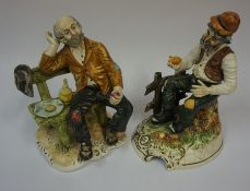 Two Capo Di Monte Porcelain Figures, In the form of a seated male, 18cm, 20cm high, (2)