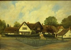 """British School """"Thatched Cottage"""" Oil on Canvas, Signed indistinctly to lower right, 39.5cm x 59."""