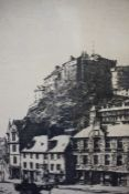 """R.S. Forest (Scottish) """"Edinburgh Castle from the Grassmarket"""" Etching, signed in pencil, 21cm x"""