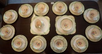A Plant Tuscan 12 Piece China Tea Service, circa early 20th century, To include biscuit plates,