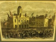A Quantity of Prints and Pictures, To include a Victorian print of Queen Victoria visiting Market