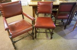 A Set of Six Oak Dining Chairs, Including two carvers, upholstered in red leather effect material,