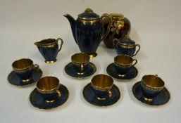 A Carlton Ware Blue Glazed 15 Piece Coffee Set, Comprising of coffee pot, cream, sugar and six