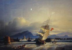 "After Paul John Clays ""The Port of Leith 1843"" Print, 39cm x 60cm, framed"