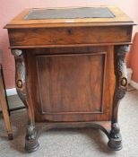 A Late Victorian Walnut Davenport Desk, With a hinged fall front enclosing fitted drawers, flanked