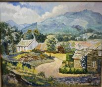 """L.H Cowan-Douglas (Scottish) """"Elmbank Yetholm"""" Oil on Canvas, 62cm x 74cm, initialed and dated"""