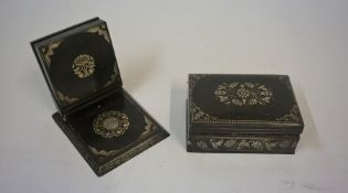 A Niello Style Silver and Gold Leaf Overlaid White Metal Cigarette Box, circa early 20th century,