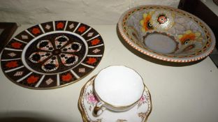 A Royal Crown Derby Imari Pattern Cabinet Plate, 27cm diameter, also with a Charlotte Rhead bowl for