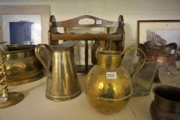 A Quantity of Brass, Copper, Pottery and Pictures, To include a late Victorian copper jardiniere,