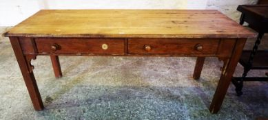 A Victorian Pine Farmhouse Table, With a rectangular top above two small drawers, 75cm high, 180cm
