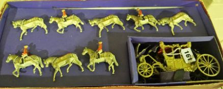 A Model Coach Group by Britains Historical Series, Comprising of a carriage and eight horses, Reg no