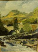 "Scottish School ""Killin-Falls of Dochart"" Oil on Board, 39.5cm x 25cm, framed, also with a 19th"