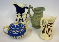 """Three Victorian Relief Moulded Jugs, One example named """"Dancing Amorini"""" probably by Minton,"""