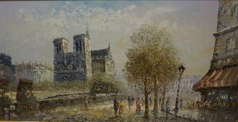 """Burnett 20th Century """"Parisian Street Scene"""" Oil on Canvas, signed to lower left, 59.5cm x 120cm,"""